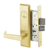 AUCN8823FL-605 Yale 8800FL Series Single Cylinder with Deadbolt Mortise Storeroom Lock with Indicator with Augusta Lever in Bright Brass