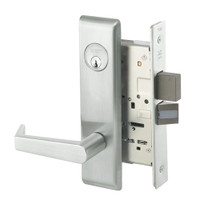 AUCN8823FL-618 Yale 8800FL Series Single Cylinder with Deadbolt Mortise Storeroom Lock with Indicator with Augusta Lever in Bright Nickel