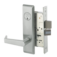 AUCN8823FL-619 Yale 8800FL Series Single Cylinder with Deadbolt Mortise Storeroom Lock with Indicator with Augusta Lever in Satin Nickel