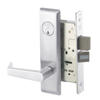 AUCN8823FL-625 Yale 8800FL Series Single Cylinder with Deadbolt Mortise Storeroom Lock with Indicator with Augusta Lever in Bright Chrome