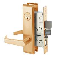 AUCN8847FL-612 Yale 8800FL Series Single Cylinder with Deadbolt Mortise Entrance Lock with Indicator with Augusta Lever in Satin Bronze