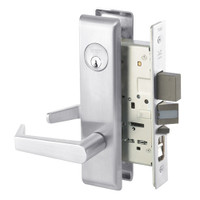 AUCN8847FL-625 Yale 8800FL Series Single Cylinder with Deadbolt Mortise Entrance Lock with Indicator with Augusta Lever in Bright Chrome