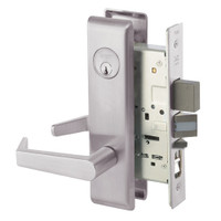 AUCN8847FL-630 Yale 8800FL Series Single Cylinder with Deadbolt Mortise Entrance Lock with Indicator with Augusta Lever in Satin Stainless Steel