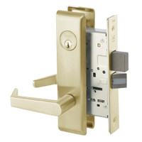AUCN8860FL-606 Yale 8800FL Series Single Cylinder with Deadbolt Mortise Entrance or Storeroom Lock with Indicator with Augusta Lever in Satin Brass