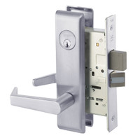 AUCN8861FL-626 Yale 8800FL Series Single Cylinder with Deadbolt Mortise Dormitory or Storeroom Lock with Indicator with Augusta Lever in Satin Chrome