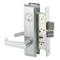 AUCN8861FL-618 Yale 8800FL Series Single Cylinder with Deadbolt Mortise Dormitory or Storeroom Lock with Indicator with Augusta Lever in Bright Nickel