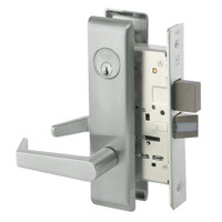 AUCN8861FL-619 Yale 8800FL Series Single Cylinder with Deadbolt Mortise Dormitory or Storeroom Lock with Indicator with Augusta Lever in Satin Nickel