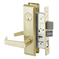 AUCN8867FL-606 Yale 8800FL Series Single Cylinder with Deadbolt Mortise Dormitory or Exit Lock with Indicator with Augusta Lever in Satin Brass