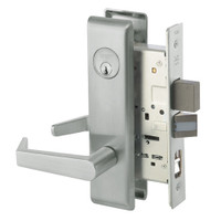 AUCN8867FL-619 Yale 8800FL Series Single Cylinder with Deadbolt Mortise Dormitory or Exit Lock with Indicator with Augusta Lever in Satin Nickel