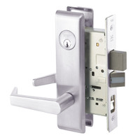 AUCN8867FL-629 Yale 8800FL Series Single Cylinder with Deadbolt Mortise Dormitory or Exit Lock with Indicator with Augusta Lever in Bright Stainless Steel
