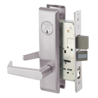 AUCN8867FL-630 Yale 8800FL Series Single Cylinder with Deadbolt Mortise Dormitory or Exit Lock with Indicator with Augusta Lever in Satin Stainless Steel