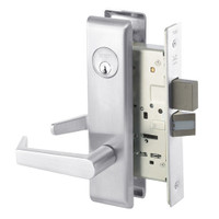 AUCN8860-2FL-625 Yale 8800FL Series Double Cylinder with Deadbolt Mortise Entrance or Storeroom Lock with Indicator with Augusta Lever in Bright Chrome