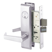 AUCN8860-2FL-629 Yale 8800FL Series Double Cylinder with Deadbolt Mortise Entrance or Storeroom Lock with Indicator with Augusta Lever in Bright Stainless Steel