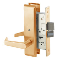 AUCN8802FL-612 Yale 8800FL Series Non-Keyed Mortise Privacy Locks with Augusta Lever in Satin Bronze