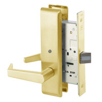 AUCN8862FL-605 Yale 8800FL Series Non-Keyed Mortise Bathroom Locks with Augusta Lever in Bright Brass