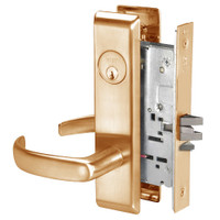 PBCN8824FL-612 Yale 8800FL Series Single Cylinder Mortise Hold Back Locks with Pacific Beach Lever in Satin Bronze