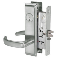 PBCN8864FL-619 Yale 8800FL Series Single Cylinder Mortise Bathroom Lock with Indicator with Pacific Beach Lever in Satin Nickel