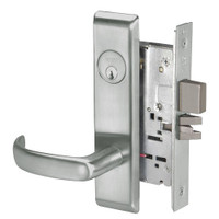 PBCN8823FL-619 Yale 8800FL Series Single Cylinder with Deadbolt Mortise Storeroom Lock with Indicator with Pacific Beach Lever in Satin Nickel