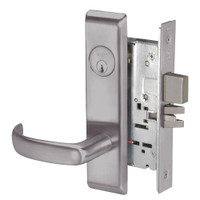 PBCN8823FL-630 Yale 8800FL Series Single Cylinder with Deadbolt Mortise Storeroom Lock with Indicator with Pacific Beach Lever in Satin Stainless Steel