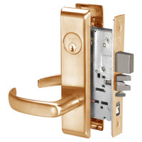 PBCN8847FL-612 Yale 8800FL Series Single Cylinder with Deadbolt Mortise Entrance Lock with Indicator with Pacific Beach Lever in Satin Bronze