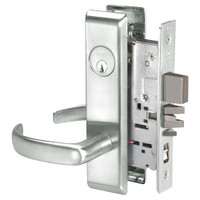 PBCN8847FL-618 Yale 8800FL Series Single Cylinder with Deadbolt Mortise Entrance Lock with Indicator with Pacific Beach Lever in Bright Nickel