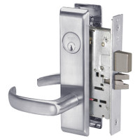 PBCN8861FL-626 Yale 8800FL Series Single Cylinder with Deadbolt Mortise Dormitory or Storeroom Lock with Indicator with Pacific Beach Lever in Satin Chrome