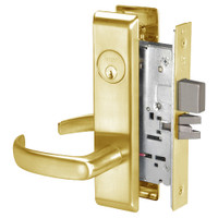 PBCN8861FL-605 Yale 8800FL Series Single Cylinder with Deadbolt Mortise Dormitory or Storeroom Lock with Indicator with Pacific Beach Lever in Bright Brass