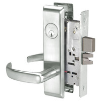 PBCN8861FL-618 Yale 8800FL Series Single Cylinder with Deadbolt Mortise Dormitory or Storeroom Lock with Indicator with Pacific Beach Lever in Bright Nickel
