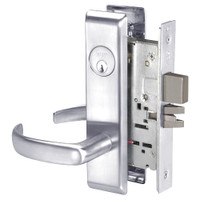 PBCN8861FL-625 Yale 8800FL Series Single Cylinder with Deadbolt Mortise Dormitory or Storeroom Lock with Indicator with Pacific Beach Lever in Bright Chrome