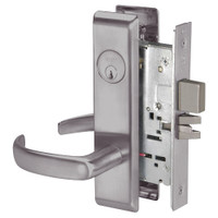 PBCN8861FL-630 Yale 8800FL Series Single Cylinder with Deadbolt Mortise Dormitory or Storeroom Lock with Indicator with Pacific Beach Lever in Satin Stainless Steel