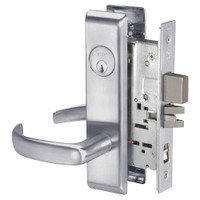 PBCN8867FL-626 Yale 8800FL Series Single Cylinder with Deadbolt Mortise Dormitory or Exit Lock with Indicator with Pacific Beach Lever in Satin Chrome