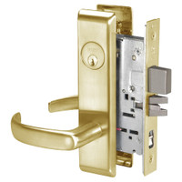 PBCN8867FL-606 Yale 8800FL Series Single Cylinder with Deadbolt Mortise Dormitory or Exit Lock with Indicator with Pacific Beach Lever in Satin Brass