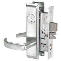 PBCN8867FL-618 Yale 8800FL Series Single Cylinder with Deadbolt Mortise Dormitory or Exit Lock with Indicator with Pacific Beach Lever in Bright Nickel
