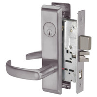 PBCN8867FL-630 Yale 8800FL Series Single Cylinder with Deadbolt Mortise Dormitory or Exit Lock with Indicator with Pacific Beach Lever in Satin Stainless Steel