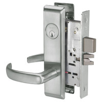 PBCN8860-2FL-619 Yale 8800FL Series Double Cylinder with Deadbolt Mortise Entrance or Storeroom Lock with Indicator with Pacific Beach Lever in Satin Nickel