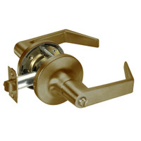AU5425LN-609 Yale 5400LN Series Non-Keyed Privacy Cylindrical Locks with Augusta Lever in Antique Brass