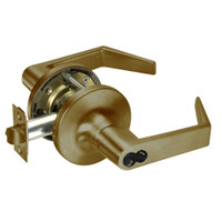 M-AU5408LN-609 Yale 5400LN Series Single Cylinder Classroom Cylindrical Locks with Augusta Lever Prepped for Medeco-ASSA IC Core in Antique Brass