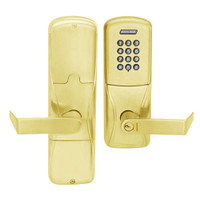 AD200-CY-50-KP-RHO-RD-605 Schlage Office Cylindrical Keypad Lock with Rhodes Lever in Bright Brass