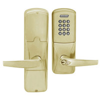 AD200-CY-50-KP-ATH-RD-606 Schlage Office Cylindrical Keypad Lock with Athens Lever in Satin Brass
