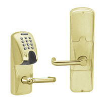 AD200-CY-50-MGK-TLR-RD-606 Schlage Office Magnetic Stripe(Insert) Keypad Lock with Tubular Lever in Satin Brass