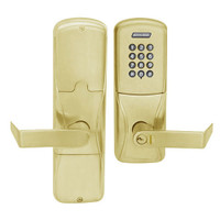 AD200-CY-70-KP-RHO-GD-29R-606 Schlage Classroom/Storeroom Cylindrical Keypad Lock with Rhodes Lever in Satin Brass