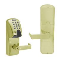 AD200-CY-70-MGK-RHO-GD-29R-606 Schlage Classroom/Storeroom Magnetic Stripe(Insert) Keypad Lock with Rhodes Lever in Satin Brass