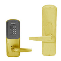 AD200-CY-70-MTK-ATH-GD-29R-605 Schlage Classroom/Storeroom Multi-Technology Keypad Lock with Athens Lever in Bright Brass