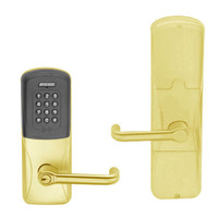 AD200-CY-70-MTK-TLR-GD-29R-605 Schlage Classroom/Storeroom Multi-Technology Keypad Lock with Tubular Lever in Bright Brass