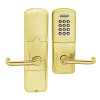 AD200-CY-50-KP-TLR-GD-29R-605 Schlage Office Cylindrical Keypad Lock with Tubular Lever in Bright Brass