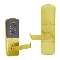 AD200-CY-50-MTK-RHO-GD-29R-605 Schlage Office Multi-Technology Keypad Lock with Rhodes Lever in Bright Brass