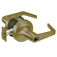 M-AU5308LN-609 Yale 5300LN Series Single Cylinder Classroom Cylindrical Lock with Augusta Lever Prepped for Medeco-ASSA IC Core in Antique Brass