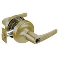 B-MO5308LN-609 Yale 5300LN Series Single Cylinder Classroom Cylindrical Lock with Monroe Lever Prepped for SFIC in Antique Brass