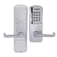 AD200-MS-70-MSK-TLR-PD-626 Schlage Classroom/Storeroom Mortise Magnetic Stripe Keypad Lock with Tubular Lever in Satin Chrome