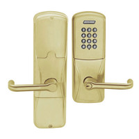 AD200-MS-40-KP-TLR-PD-606 Schlage Privacy Mortise Keypad Lock with Tubular Lever in Satin Brass